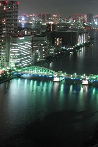 iPhone Wallpaper Tokyo city night, buildings, skyscrapers, river, bridge, lights, Japan