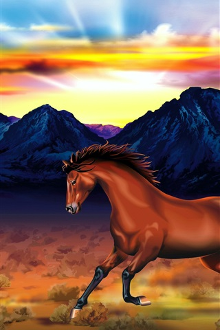 iPhone Wallpaper Two horses, mountains, red sky, sunset, art drawing