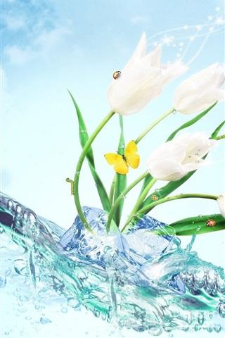 iPhone Papéis de Parede tulipas brancas flores, gelo, água, borboleta, design criativo