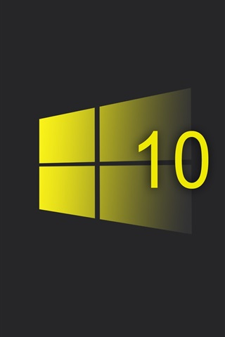 iPhone Papéis de Parede sistema Windows 10, logotipo do estilo amarelo, fundo preto