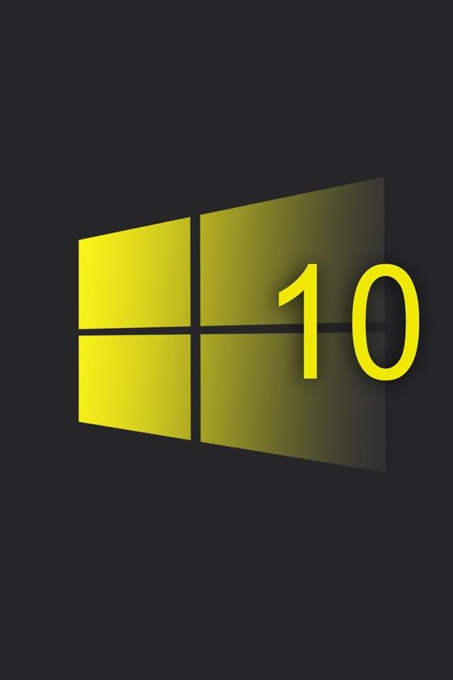 Wallpaper Windows 10 System, Yellow Style Logo, Black