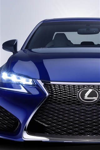 iPhone Wallpaper 2016 Lexus GS blue car front view, lights