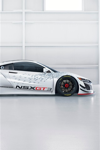 iPhone Wallpaper Acura NSX GT3 white supercar side view