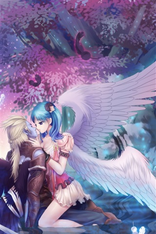 iPhone Wallpaper Anime girl and her lover, angel, tree, night
