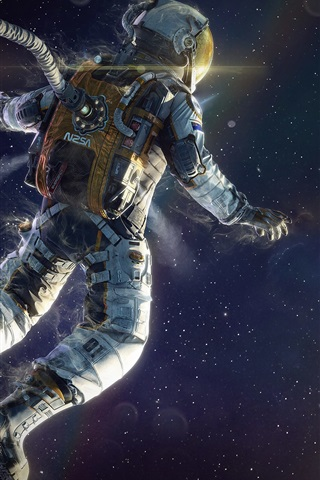 iPhone Wallpaper Astronaut floating in space, planets, stars