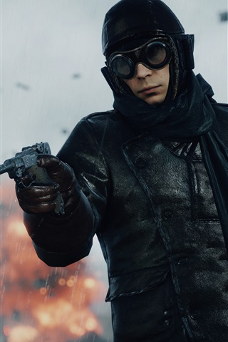 iPhone Wallpaper Battlefield 1, soldier use gun in rain