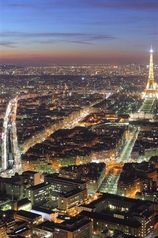 Beautiful Paris City Night Lights Houses Eiffel Tower