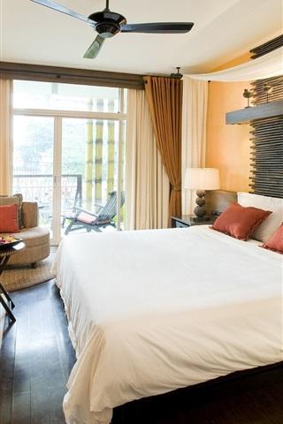 iPhone Wallpaper Bedroom, bed, table, ceiling fan, window