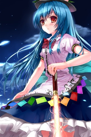 iPhone Wallpaper Blue hair anime girl at night, sword, moon