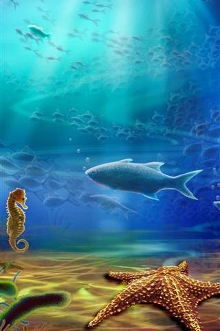 iPhone Wallpaper Bottom sea animals, fish, starfish, coral, water, art drawing