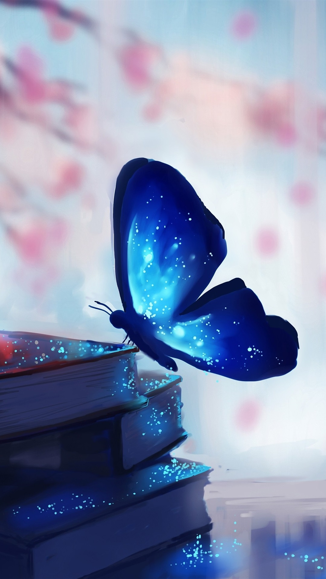 Iphone Blue Butterfly Black Background