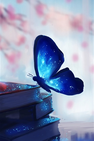 iPhone Wallpaper Butterfly and books, magic, blue, creative art drawing