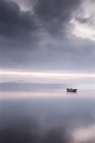 iPhone Wallpaper Calm sea, boat, clouds