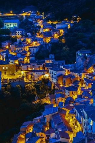 iPhone Wallpaper Castelmezzano, Italy, houses, night, lights