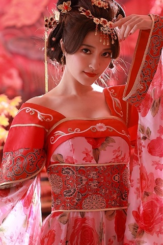 iPhone Wallpaper Chinese girl, red dress, Tang Dynasty costumes