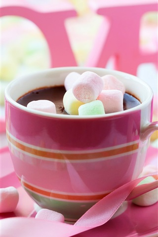 iPhone Wallpaper Chocolate drink, pink style, cotton candy, rose, love, Valentine's Day