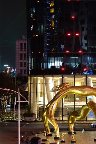 iPhone Wallpaper City night, Guangzhou, square, statue, lights