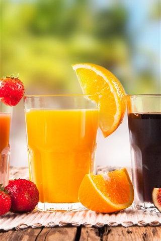iPhone Wallpaper Cocktail, fresh fruit drinks, lime, strawberry, orange, fig, apple