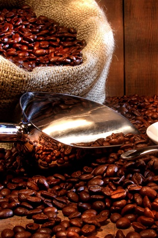 iPhone Wallpaper Coffee drinks, cup, saucer, coffee beans