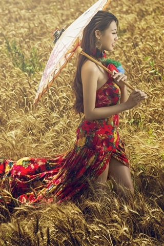 iPhone Wallpaper Colorful dress Asian girl in the grass