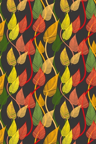 iPhone Wallpaper Colorful leaves, autumn, creative pictures