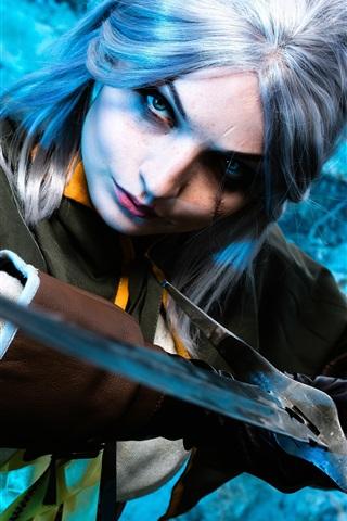 iPhone Wallpaper Cosplay girl, The Witcher Hunter, sword