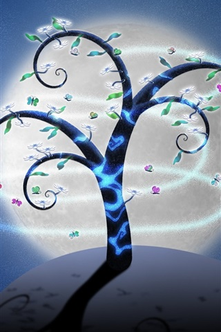 iPhone Wallpaper Creative art picture, trees, butterflies, flowers, moon, night