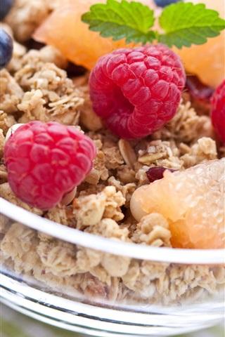 iPhone Wallpaper Delicious breakfast, raspberries, blueberries, fruit, food