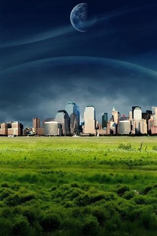 iPhone Wallpaper Dreamy World, New York city, grass, clouds
