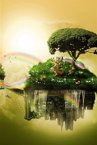 iPhone Wallpaper Float islands, sky, trees, grass, deer, rainbow, creative design