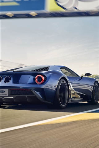 iPhone Wallpaper Ford GT II supercar in the race, back view