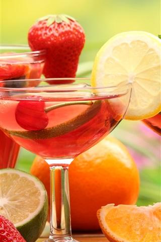 iPhone Wallpaper Fruit drinks, glass cups, strawberry, lemon, lime, orange, cherries