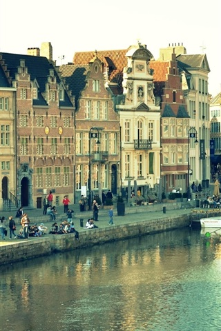 iPhone Wallpaper Ghent, Belgium, city view, houses, river, people