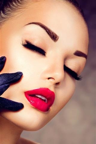 iPhone Wallpaper Girl makeup, red lipstick, eyelashes, gloves, diamond ring