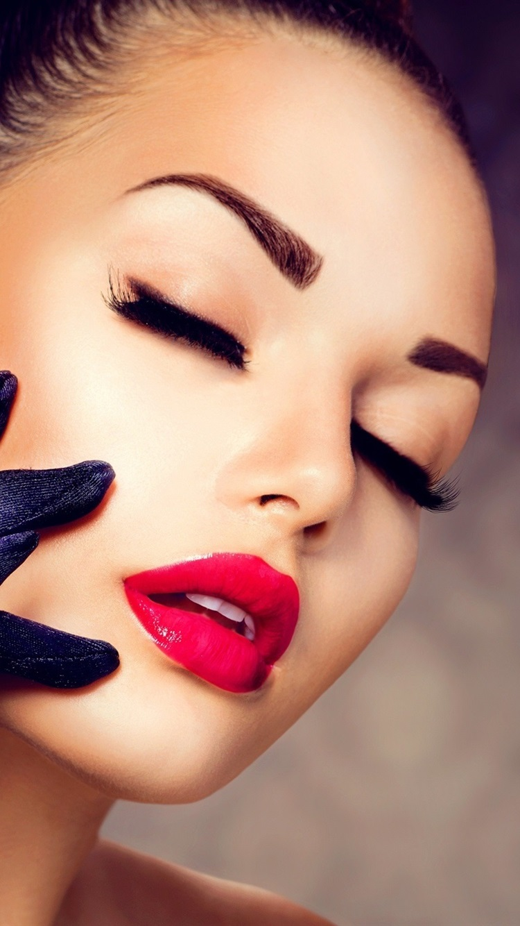 Girl Makeup Red Lipstick Eyelashes Gloves Diamond Ring