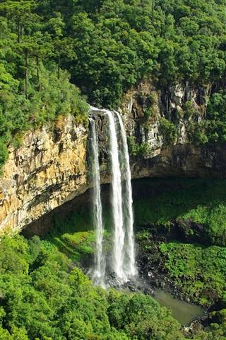 iPhone Wallpaper Great waterfall, greenery, mountain, beautiful nature