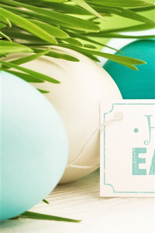 iPhone Wallpaper Happy Easter, eggs, blue, white, grass