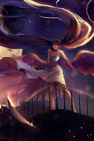 iPhone Wallpaper Hatsune Miku, long hair anime girl, microphone, wings, angel