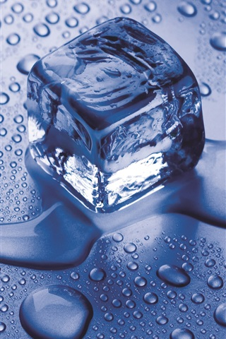 iPhone Wallpaper Ice cube, water, blue style