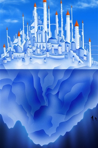 iPhone Wallpaper Iceberg, castle, city, blue sea, creative pictures