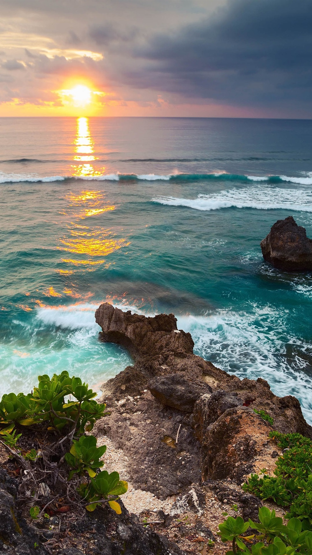 Indonesia Bali Island Tropical Nature Scenery Sea Waves