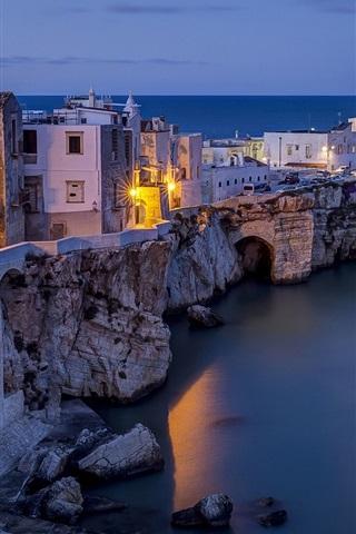 iPhone Wallpaper Italy, Adriatic Sea, Vieste, city, night, houses, lights