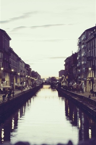 iPhone Wallpaper Italy Milan, canal, houses, dusk