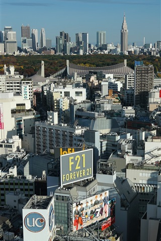 iPhone Обои Японский городской пейзаж, дома, небоскребы