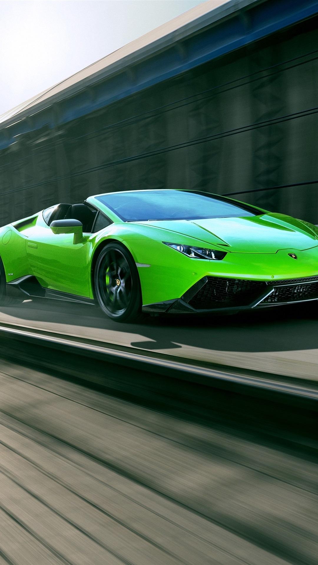 Lamborghini Huracan Spyder Green Supercar High Speed 1080x1920