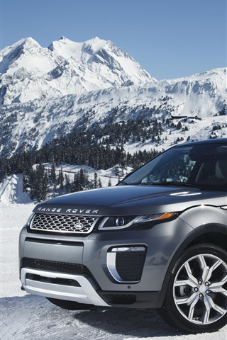 iPhone Wallpaper Land Rover Range Rover gray SUV in snow winter