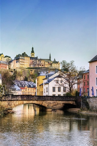 iPhone Wallpaper Luxembourg, houses, bridge, river, trees