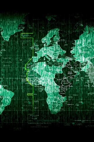 iPhone Wallpaper Matrix world map, digital pictures, creative
