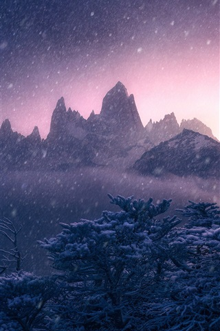 iPhone Wallpaper Mount Fitz Roy, Argentina, Andes, winter, snow, trees, mountains, dusk