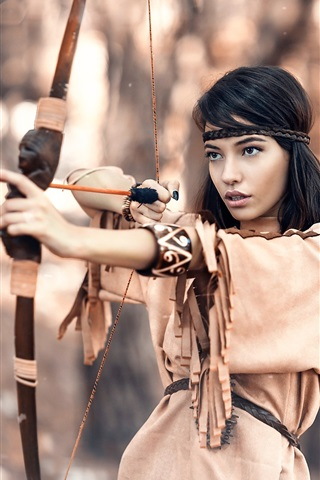 iPhone Wallpaper Native hunter, black hair girl, bow